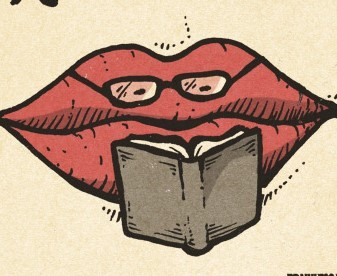lips reading a book